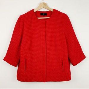 Talbots Red Tweed Zip Blazer 10p Jacket Twill